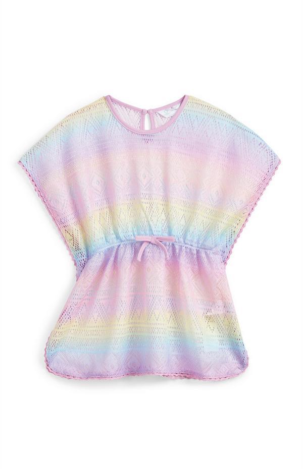 Pastellfarbener Regenbogen-Häkelkaftan (kleine Mädchen)