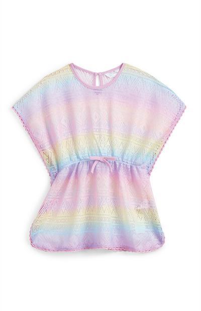 Younger Girl Rainbow Pastel Crochet Tunic