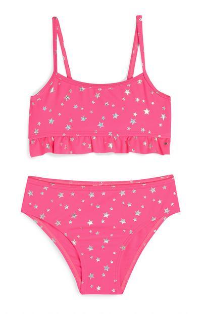 Rožnat bikini z zvezdicami za deklice