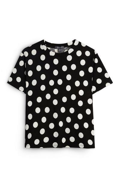 T-shirt bianca e nera a pois