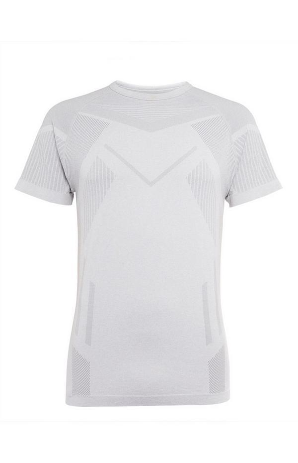Weißes, nahtloses T-Shirt mit Geo-Print
