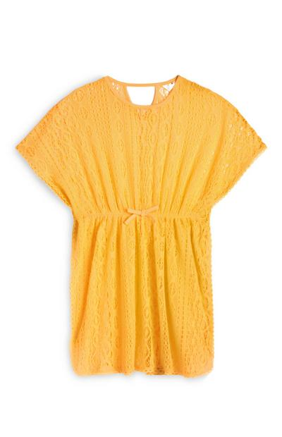 Older Girl Yellow Crochet Kaftan