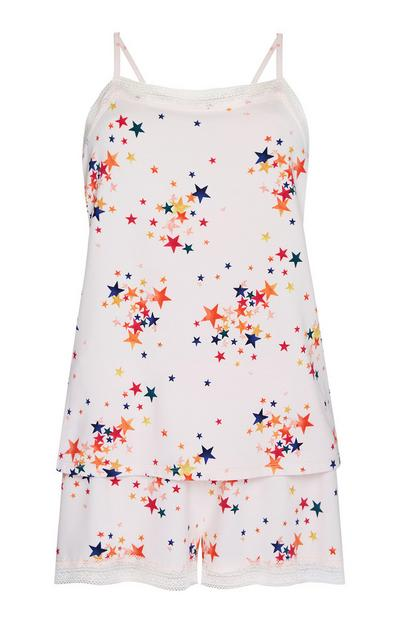 White And Orange Star Print Pyjama Cami And Shorts