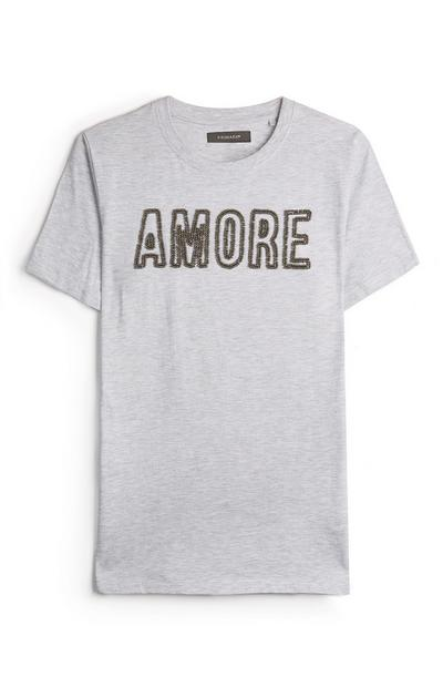 Grey Amore Applique T-Shirt