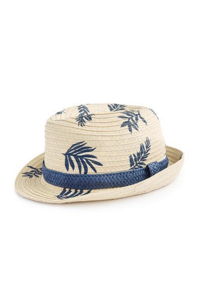 Cappello Trilby di paglia con foglie blu stampate da ragazza
