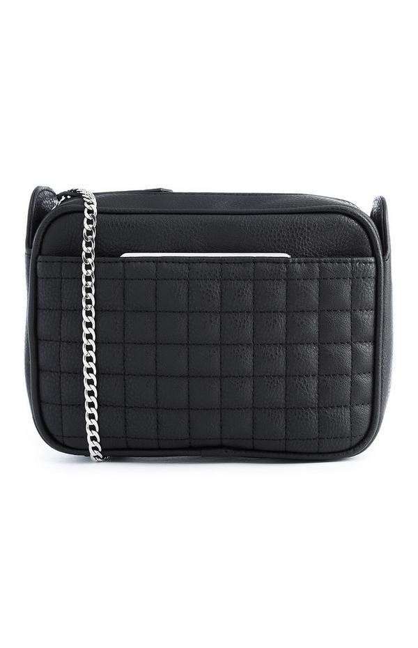 Črna prešita torbica z verigo