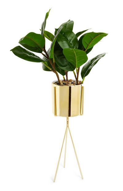 Grande plante artificielle avec pot et piédestal dorés