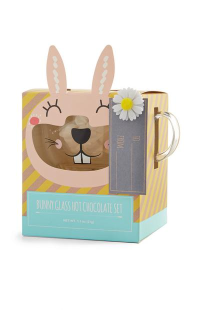 Easter Bunny Hot Chocolate Glass Set