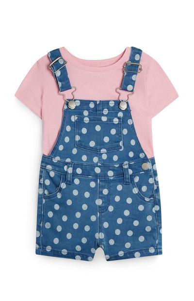 Gepunktete Jeans-Latzhose für Babys (M)