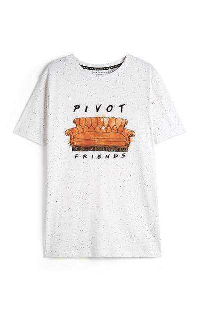 T-shirt bianca con divano Friends e scritta Pivot