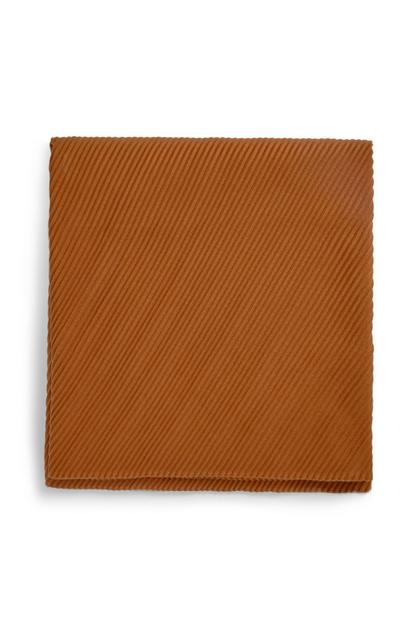 Brown Pleated Scarf