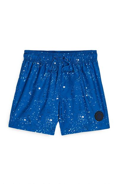 Younger Boy Cobalt Blue Paint Splatter Shorts
