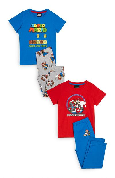 Blauwe en rode pyjamasets Super Mario, 2 sets