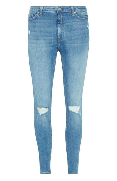 Blauwe skinny jeans met scheuren