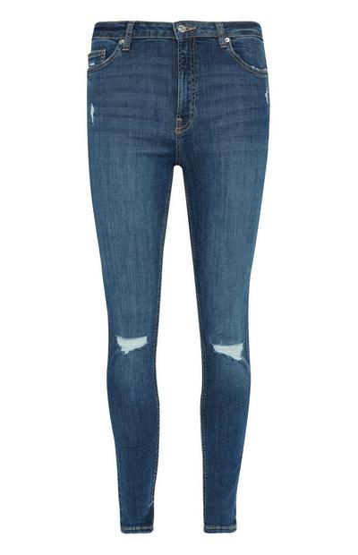 Jeans skinny blu scuro con strappi