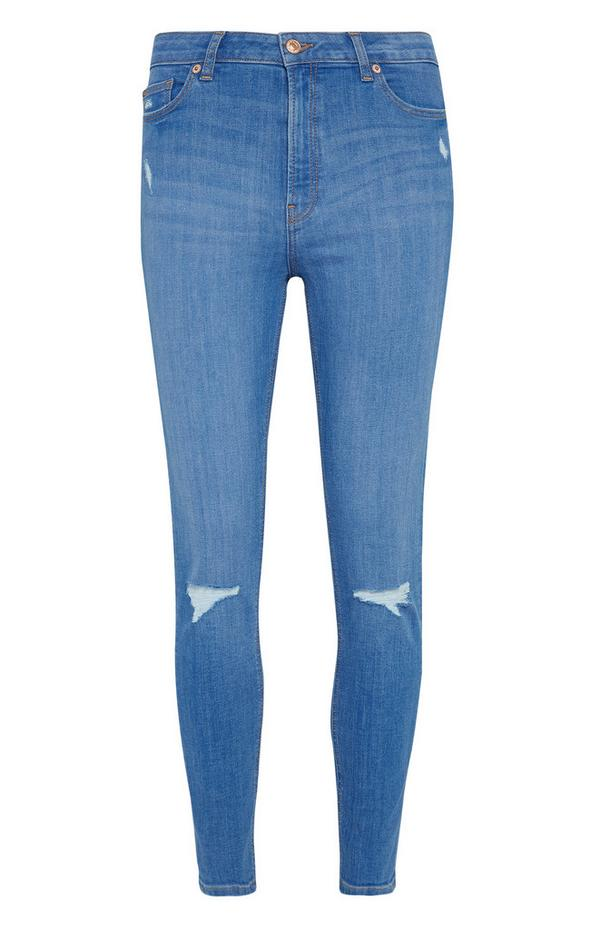 Bright Blue Ripped Skinny Jeans