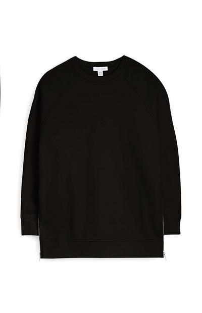 Black Side Zip Oversized Sweatshirt