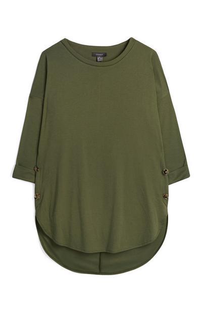 Khaki Oversized Dipped Hem T-Shirt