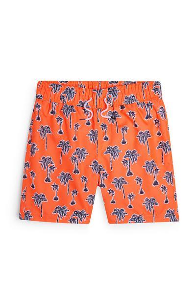 Shorts arancione fluo con stampa palme da ragazzo