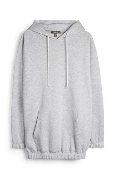 Siv ohlapen pulover s kapuco in elastičnim pasom