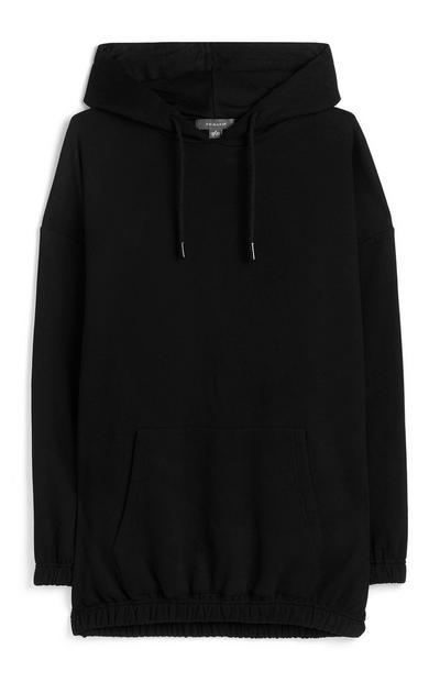 Črn ohlapen pulover s kapuco in elastičnim pasom