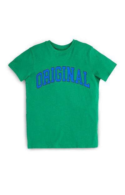 T-shirt verde con scritta Original da ragazzo