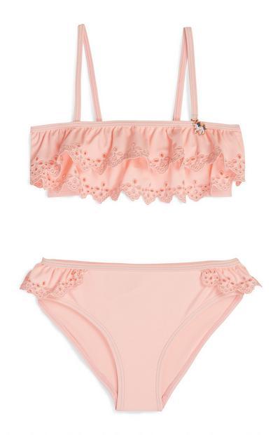 Bikini rosa bordado para niña pequeña