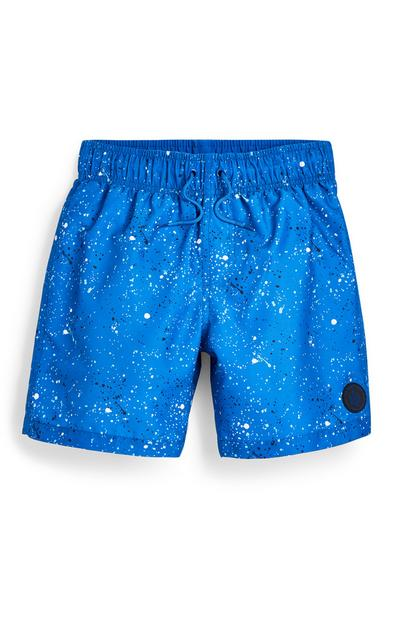 Older Boy Blue Paint Splatter Swim Shorts