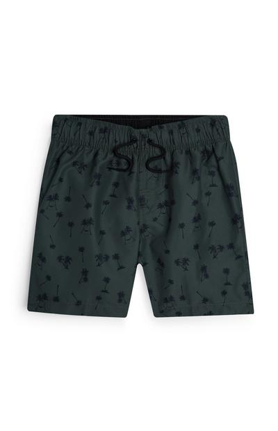 Older Boy Khaki Palm Print Swim Shorts