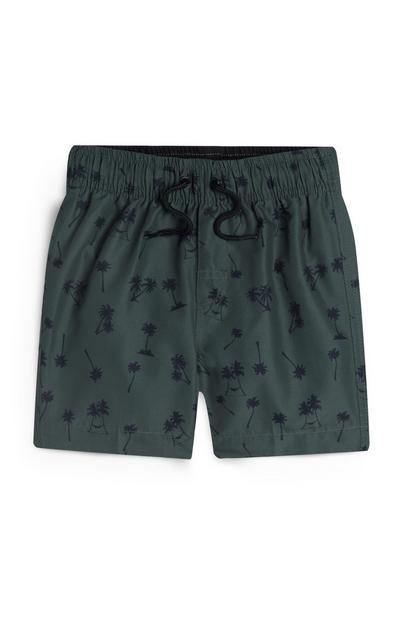 Younger Boy Khaki Palm Print Swim Shorts