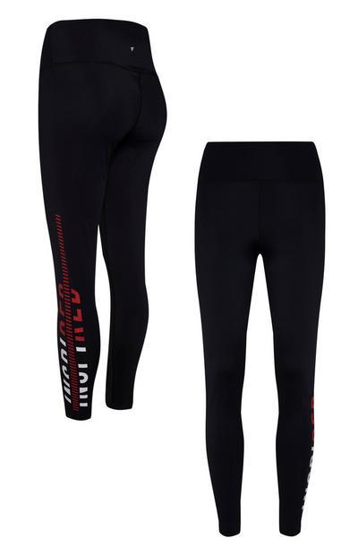 Black Inspired RED Logo Side Panel Leggings