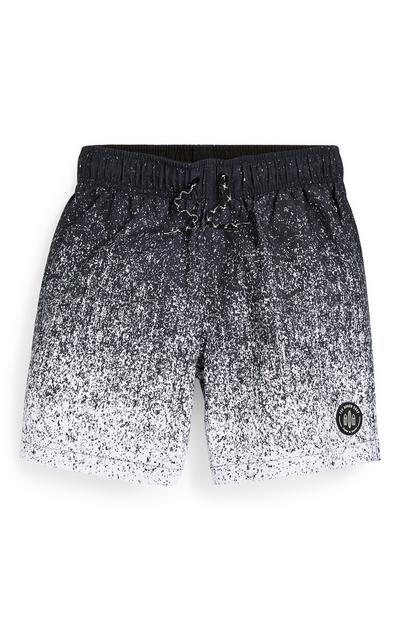 Older Boy Black Faded Paint Swim Shorts