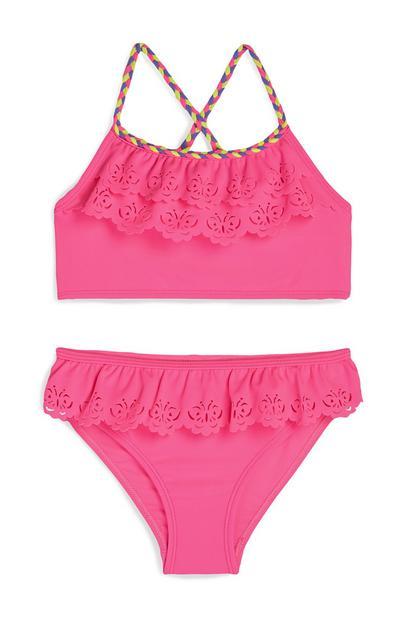 Younger Girl Pink Frill Butterfly Print Bikini