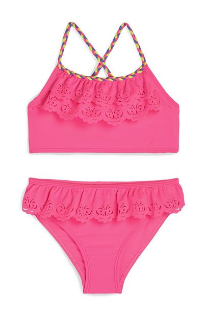 Bikini rosa con volant e farfalle da bambina