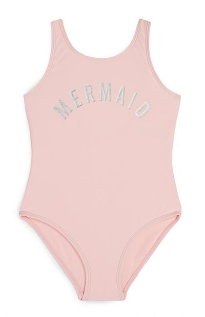 Younger Girl Pink Mermaid Slogan Swimsuit
