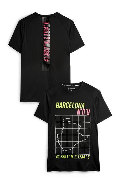 Camiseta deportiva negra con motivo de Barcelona