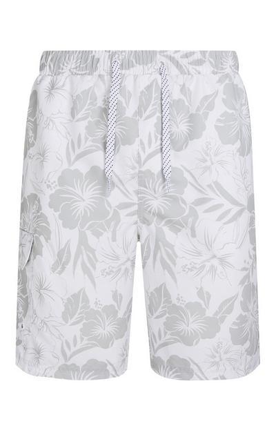 Grey Hibiscus Cargo Swim Shorts