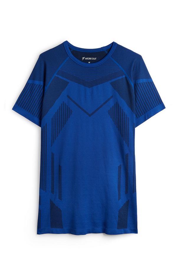 Blauw naadloos T-shirt met motief en korte mouwen