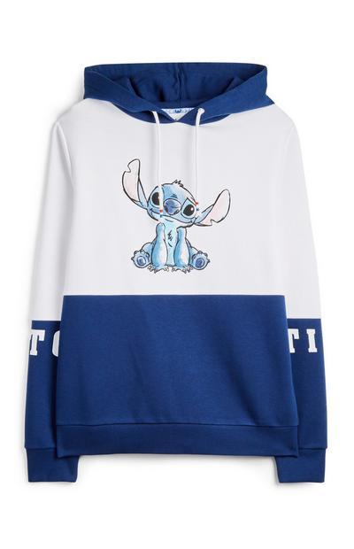 Modro-bel pulover s kapuco Žverca