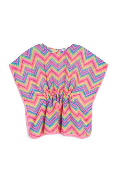 Younger Girl Pink Chevron Rainbow Kaftan