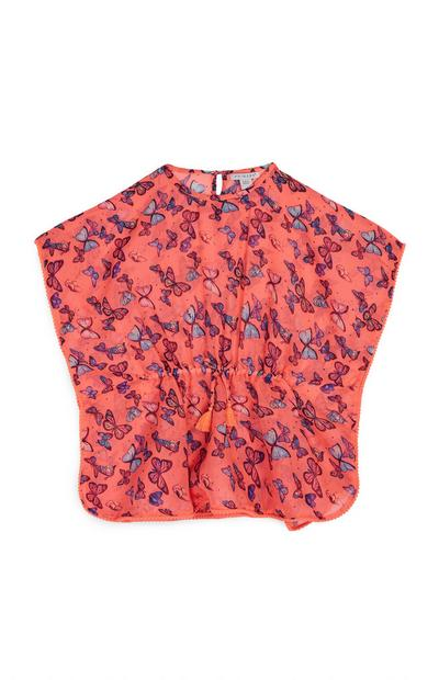 Younger Girl Coral Butterfly Tunic