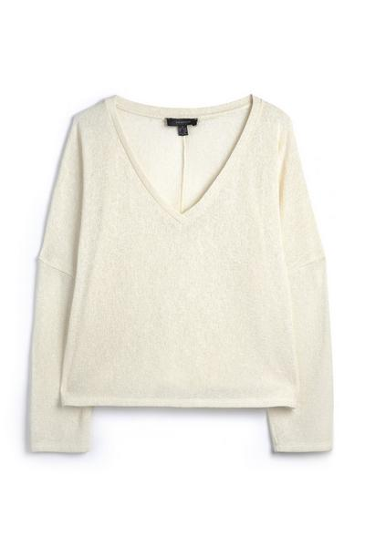 Cream Boxy Long Sleeve V Neck Knit T-Shirt