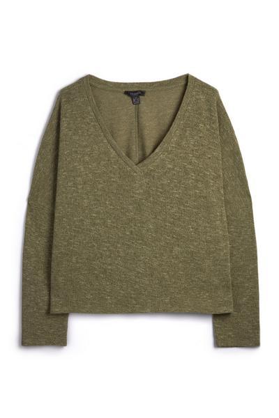 Olive Boxy Long Sleeve V-Neck Knit Sweater