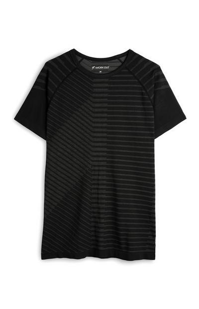 Naadloos zwart T-shirt met strepen