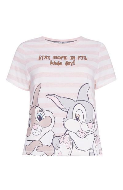 Light Pink Thumper And Miss Bunny Stripe Pyjama Top