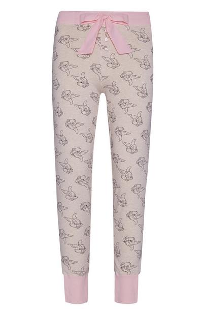 Pink And Oatmeal Thumper Pyjama Trousers