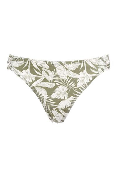 Green Palm Print Bikini Briefs