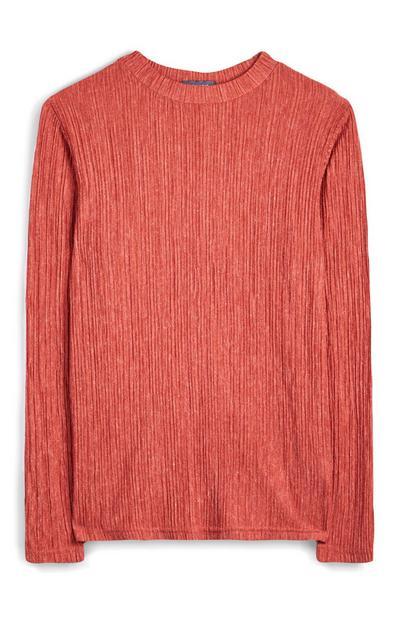 T-shirt corail froissé à manches longues