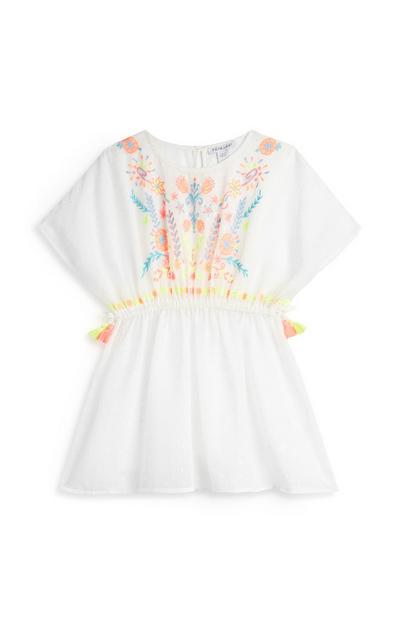 Younger Girl White Embroidered Kaftan