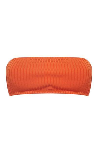 Terracotta Wide Ribbed Bandeau Bikini Top